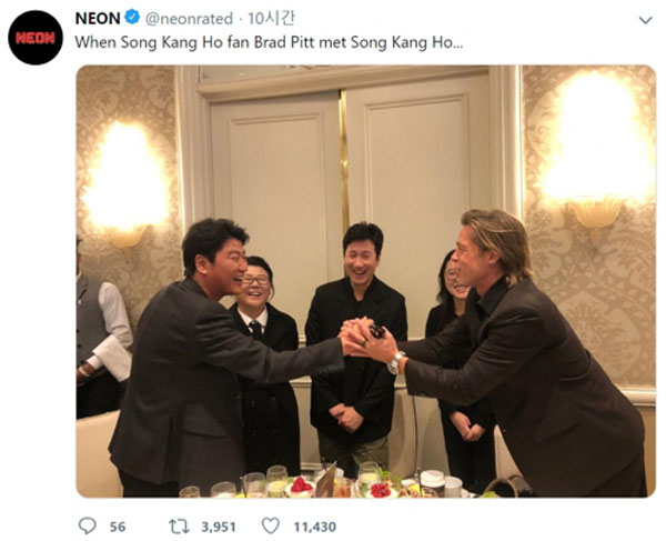 "Brad Pitt, shook hands with Song Kang Ho ""I'm a fan of Parasite"""