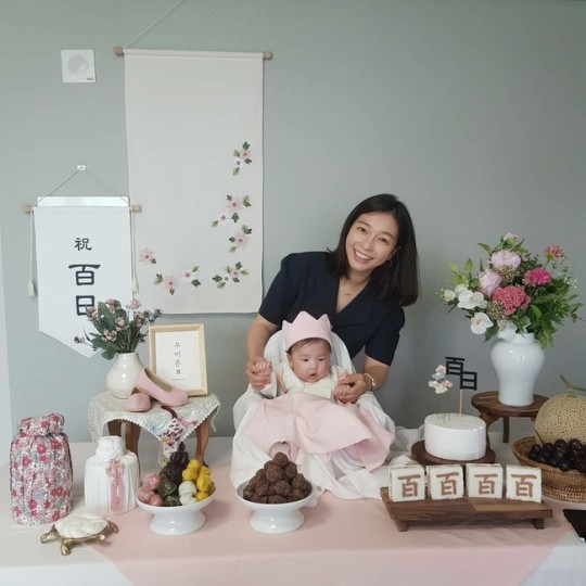 "Lee Sang-mi reveals her daughter's 100th day birth photo ""Thank you for growing well"""