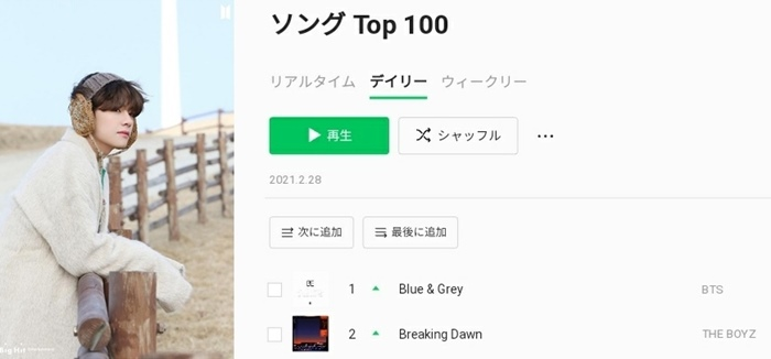 BTS V's own song 'Blue and Grey', No. 1 in line music in Japan